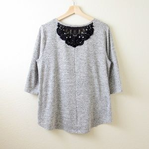 Style & Co Sweaters - French Terry Cloth & Black Lace Top
